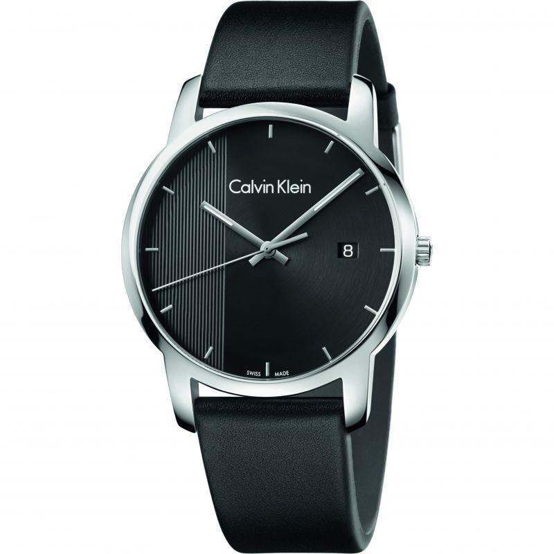 Calvin Klein Men's Silver Tone Leather Strap Quartz City Watch-Daily Steals
