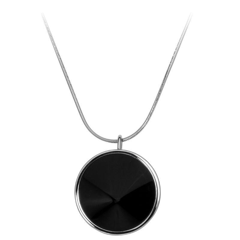 Calvin Klein Women's Black and Silver Illusory Medallion Necklace-