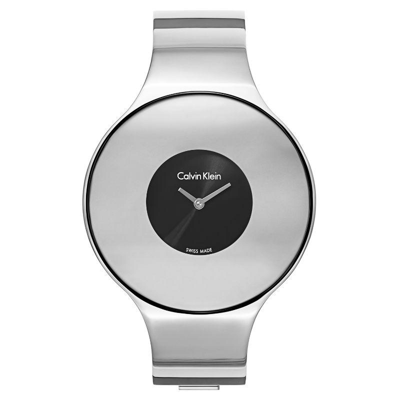 Calvin Klein Women's Seamless Oversized Bezel Quartz Watch-Black Dial-21mm-Daily Steals