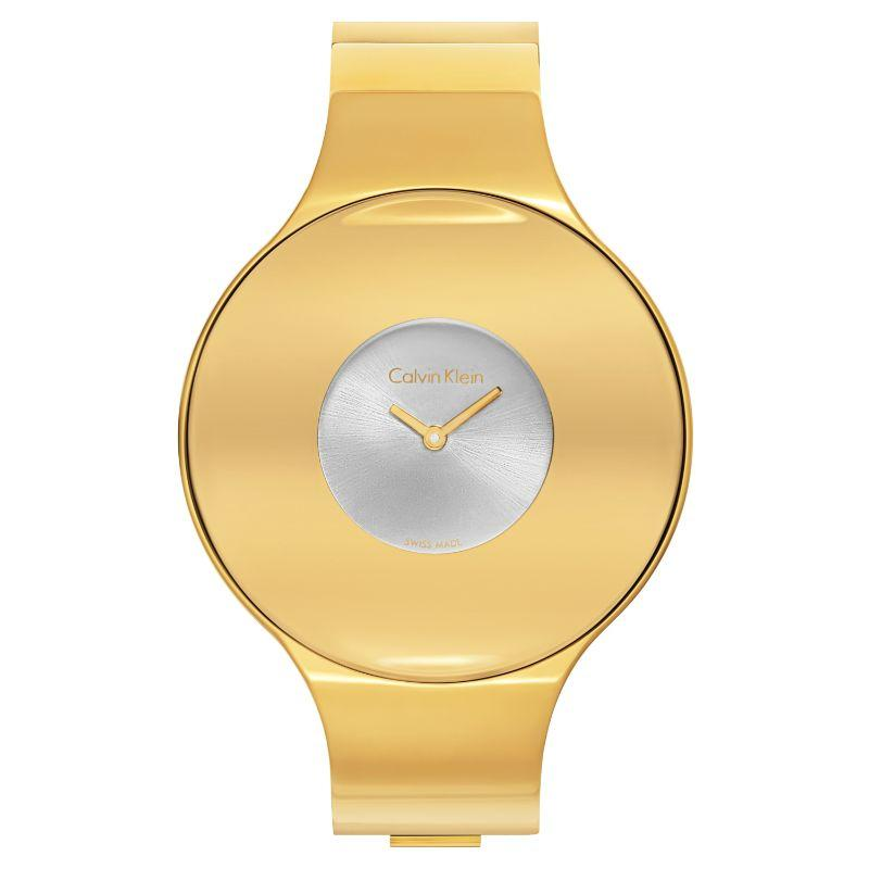 Calvin Klein Women's Seamless Oversized Bezel Quartz Watch-Silver Dial/Gold-38mm-Daily Steals