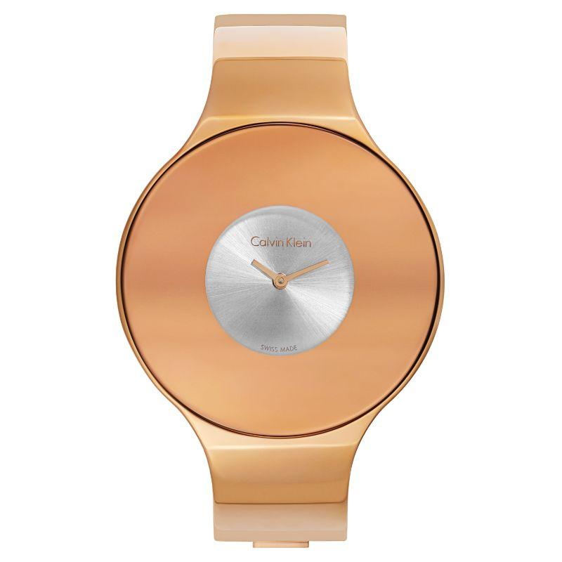 Calvin Klein Women's Seamless Oversized Bezel Quartz Watch-Silver Dial/Rose Gold-38mm-Daily Steals