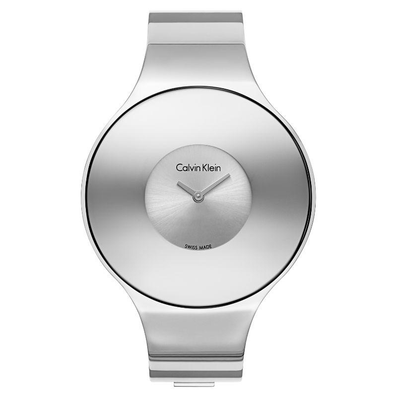 Calvin Klein Women's Seamless Oversized Bezel Quartz Watch-Silver Dial/Silver-38mm-Daily Steals