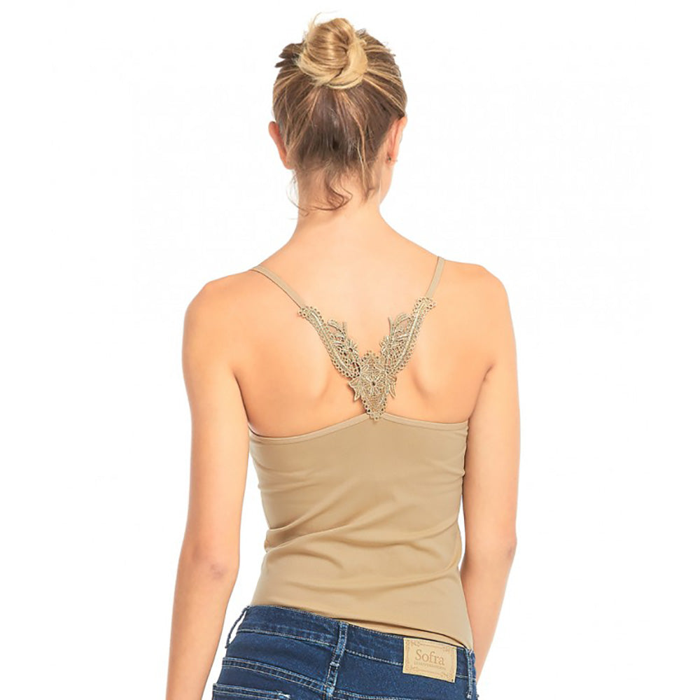 Women's Adjustable Smooth and Stretchy Nylon Camisole with Back Embroidery - 6 Pack-Daily Steals