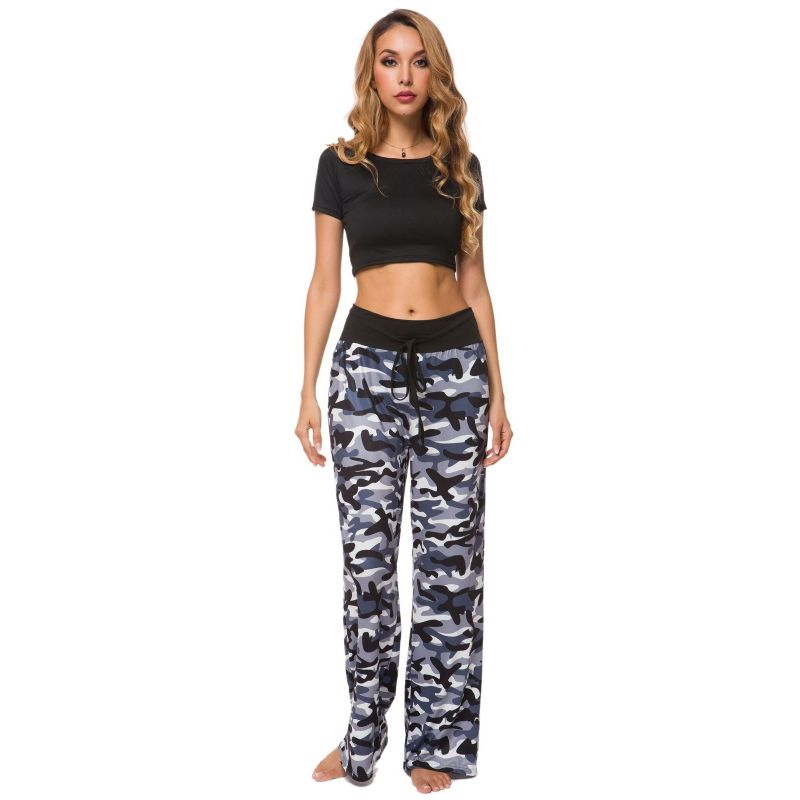 Camouflage and Floral/Camouflage Lounge Pants-Black and White-Small-Daily Steals