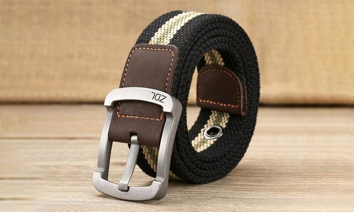 Daily Steals-Canvas Belt For Men-Men's Apparel-Black-White-30-36-