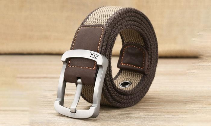 Daily Steals-Canvas Belt For Men-Men's Apparel-Brown-Beige-30-36-