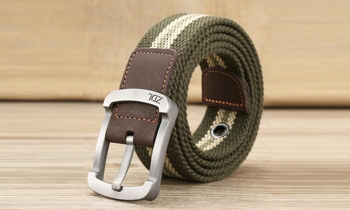 Daily Steals-Canvas Belt For Men-Men's Apparel-Green-White-30-36-