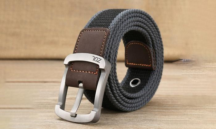 Daily Steals-Canvas Belt For Men-Men's Apparel-Grey-Black-30-36-