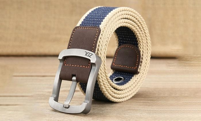 Daily Steals-Canvas Belt For Men-Men's Apparel-White-Blue-30-36-