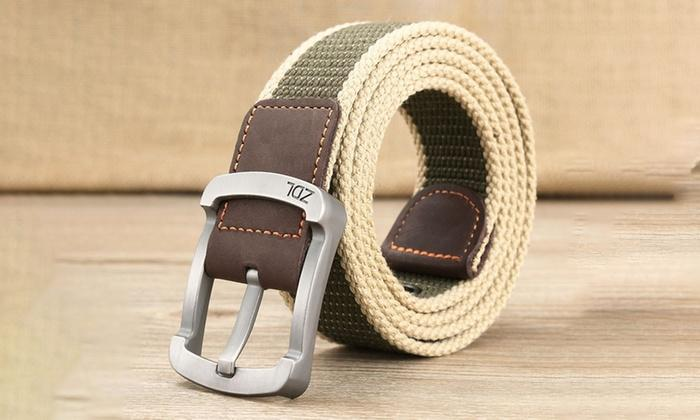 Daily Steals-Canvas Belt For Men-Men's Apparel-White-Green-30-36-