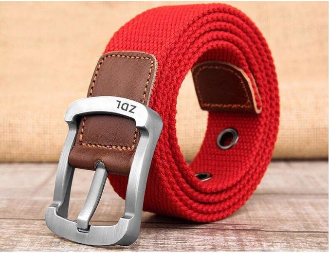Daily Steals-Canvas Belt For Men-Men's Apparel-Red-30-36-