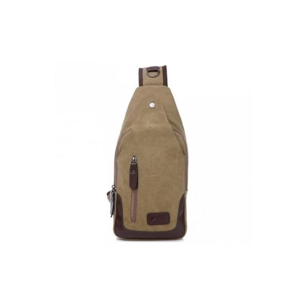Canvas Shoulder Sling Bag-Khaki-Daily Steals