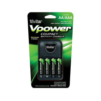 Daily Steals-Vivitar Vpower Compact Battery Charger with 4 AAA Batteries-Batteries-
