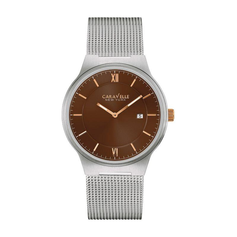 Caravelle New York Men's Silver Mesh Strap and Brown Face 40mm Watch 45B138-