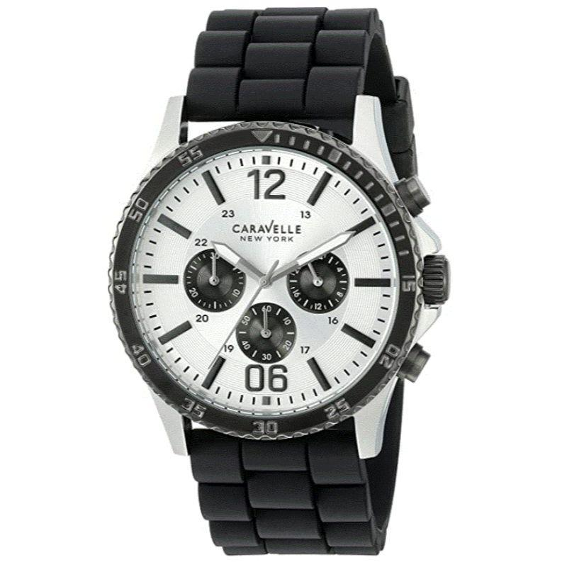 Caravelle New York Men's Sporty Black and White 44mm Watch 45A126-