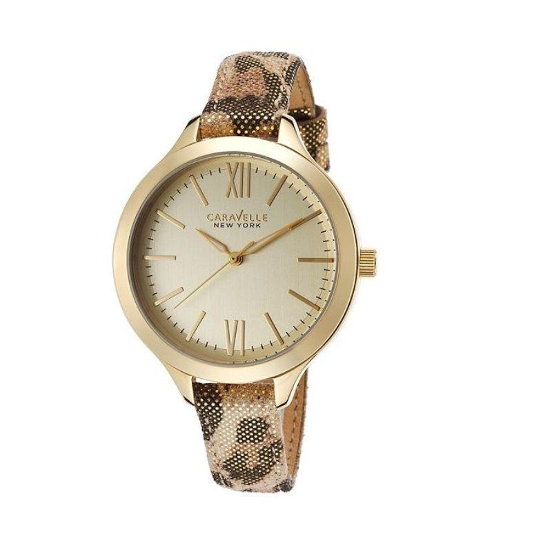 Caravelle New York Women's Gold and Animal Print Strap 37mm Watch 44L161-