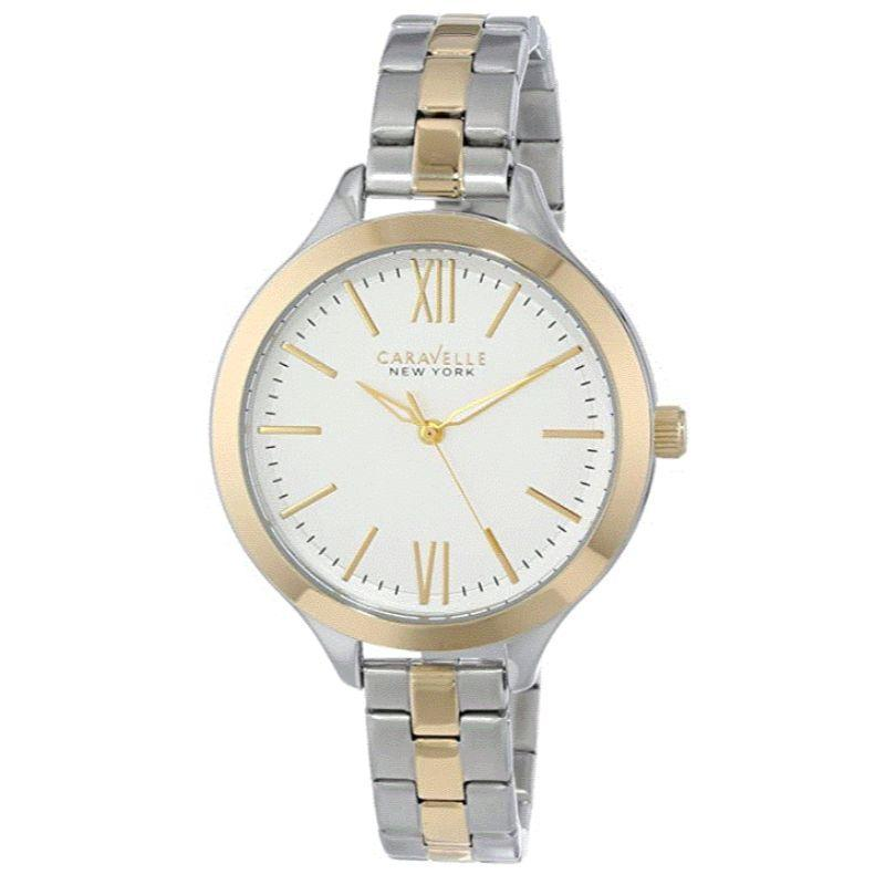 Caravelle New York Montre Femme Or, Argent, Blanc 46mm 45L139-