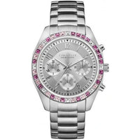 Caravelle New York Women's Melissa Silver with Pink Crystals Analog 36mm Watch 43L172-