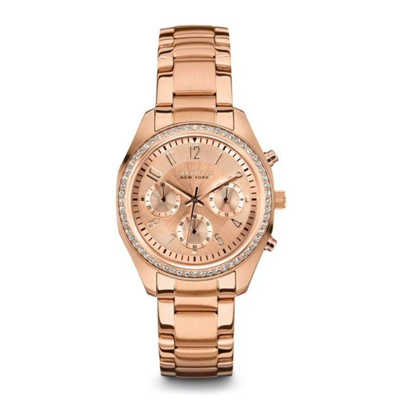 Caravelle New York Women's Rose Gold with Crystal Bezel 36mm Chronograph Watch 44L117-