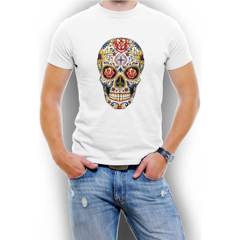 Carnival Skull Graphic Tee shirt Homme - Blanc-4XL-Vole au quotidien