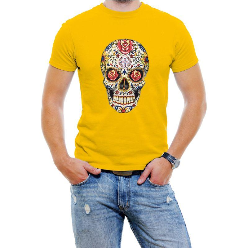 Carnival Skull Graphic Tee shirt Homme - Jaune-S-Vole Quotidien
