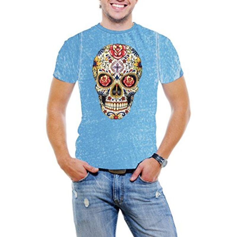 Carnival Skull Men's Acid Wash Burnout T-Shirt-Baby Blue-2XL-Daily Steals