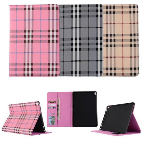 iPM iPad Leather Folio Grid Case With Wallet Card Slot for iPad Pro, iPad & iPad Mini