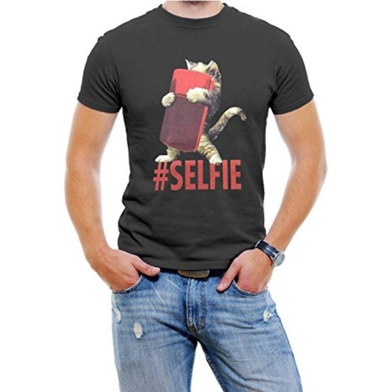 """Cat #Selfie"" Men's T-Shirt-Black-4XL-Daily Steals"