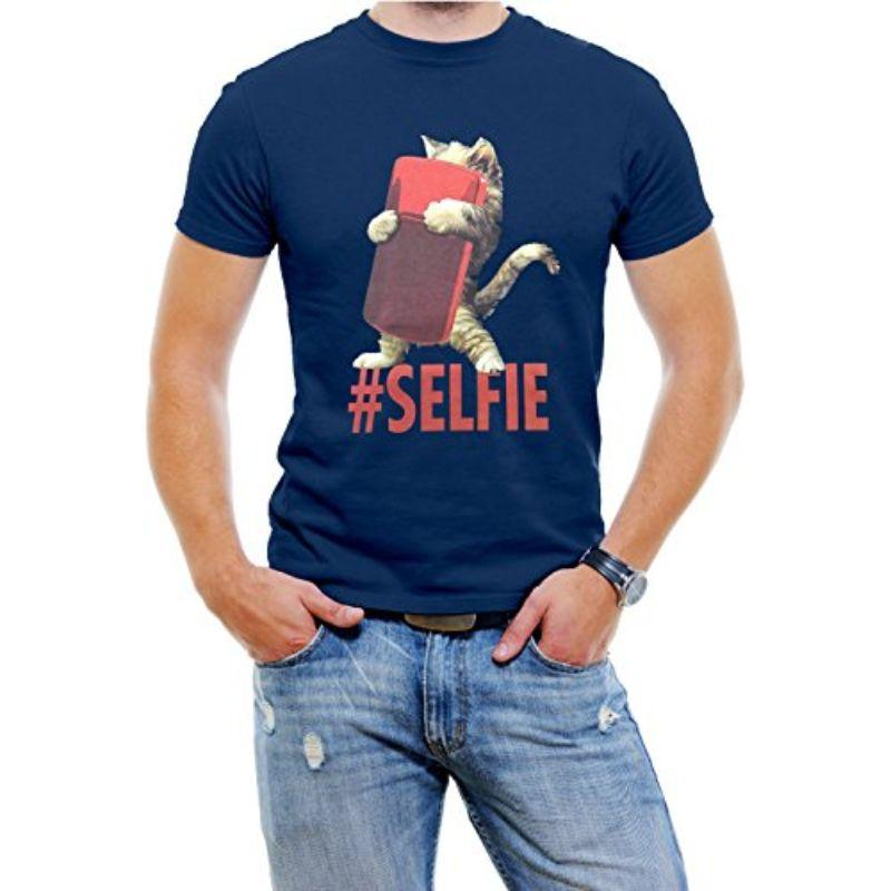 "T-Shirt Homme ""Cat #Selfie""-Bleu-4XL-Daily Steals"