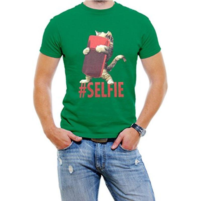 """Cat #Selfie"" Men's T-Shirt-Green-2XL-Daily Steals"