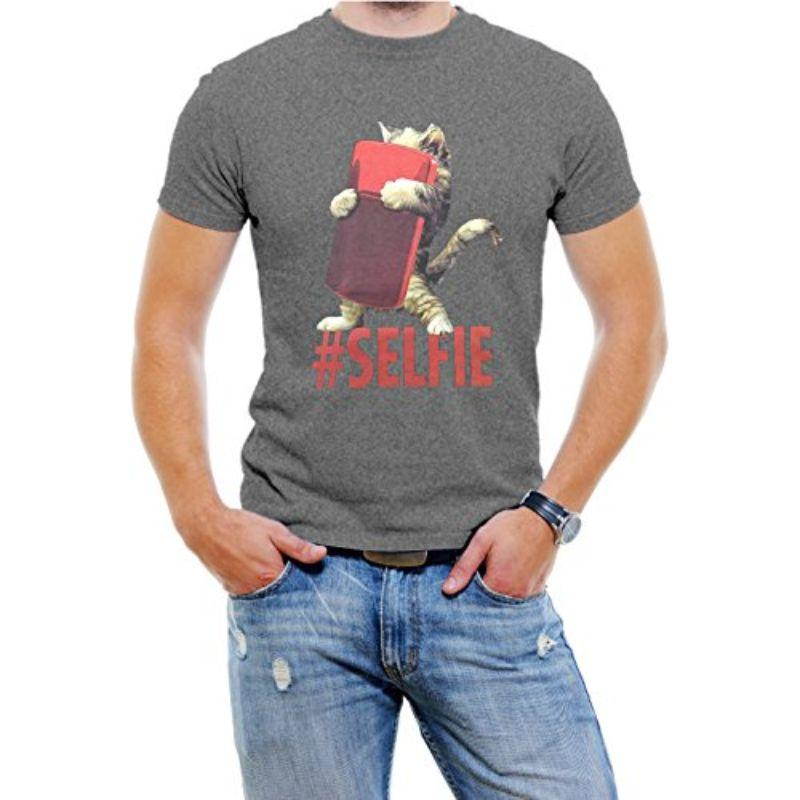 "T-Shirt Homme ""Cat #Selfie""-Gris-4XL-Daily Steals"