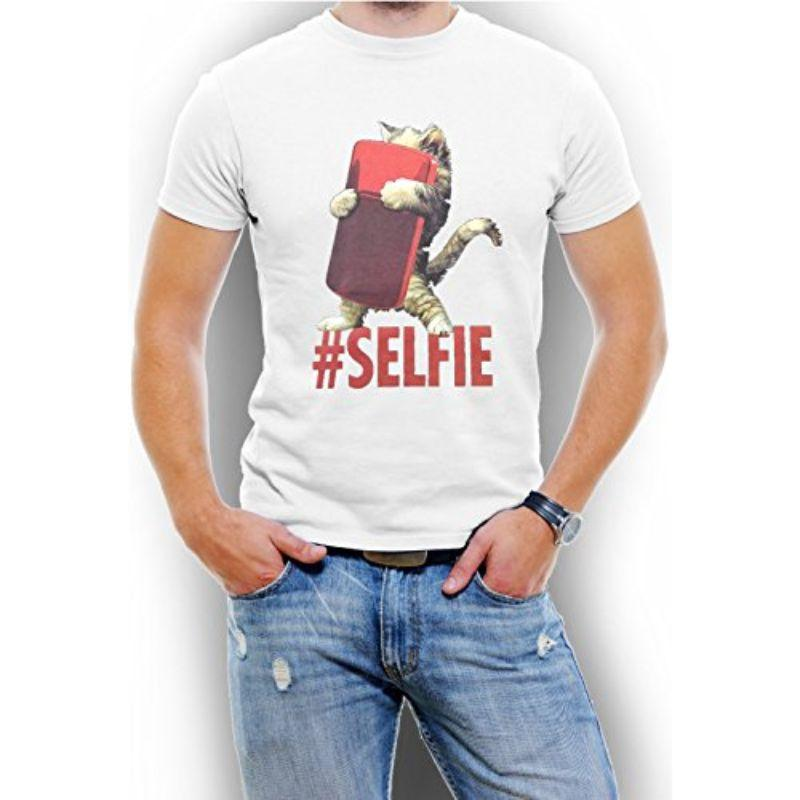 """Cat #Selfie"" Men's T-Shirt-White-4XL-Daily Steals"