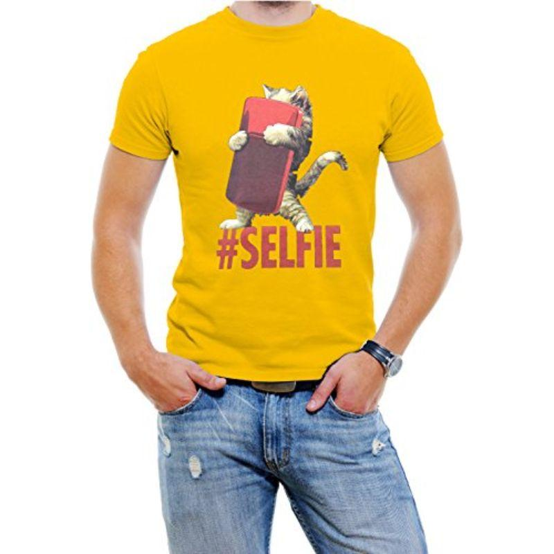 "T-shirt ""Cat #Selfie"" pour homme-Jaune-S-Daily Steals"