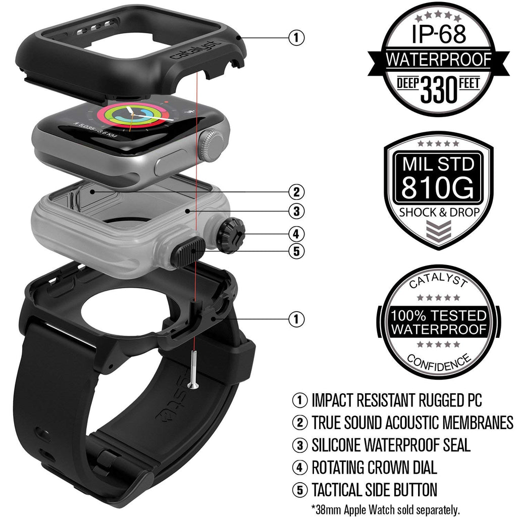 Daily Steals-Catalyst Waterproof Case for 38mm Apple Watch Series 2 and 3 - Stealth Black-Wearable Accessories-
