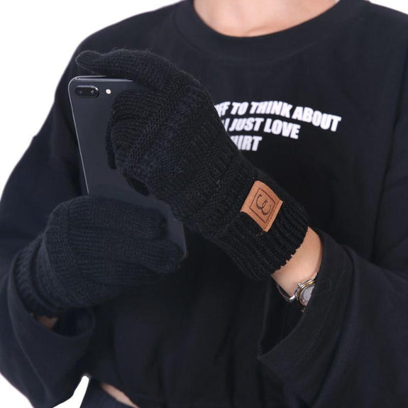 CC CHIC Women's Knit Winter Anti-Slip Touchscreen Gloves-Black-Daily Steals