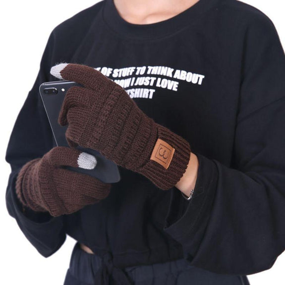 CC CHIC Women's Knit Winter Anti-Slip Touchscreen Gloves-Brown-Daily Steals