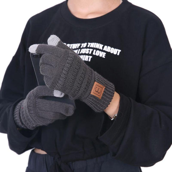 CC CHIC Women's Knit Winter Anti-Slip Touchscreen Gloves-Grey-Daily Steals