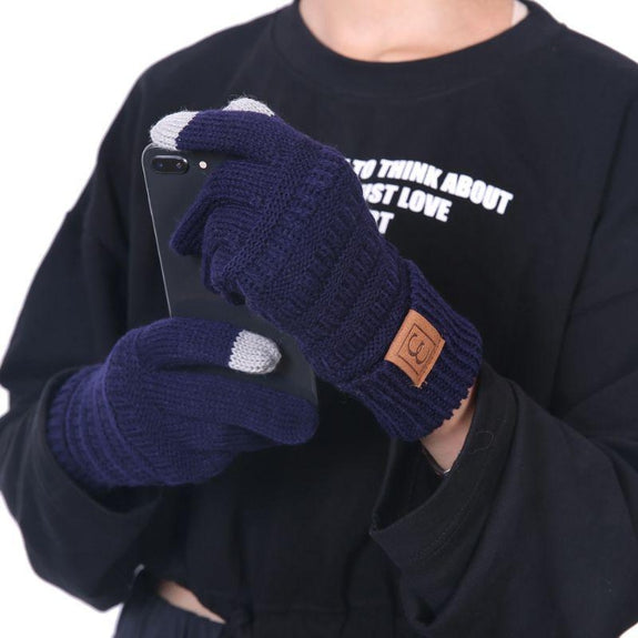 CC CHIC Women's Knit Winter Anti-Slip Touchscreen Gloves-Navy blue-Daily Steals