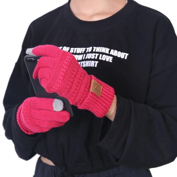 CC CHIC Women's Knit Winter Anti-Slip Touchscreen Gloves-Pink-Daily Steals