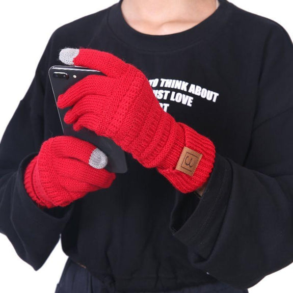CC CHIC Women's Knit Winter Anti-Slip Touchscreen Gloves-Red-Daily Steals