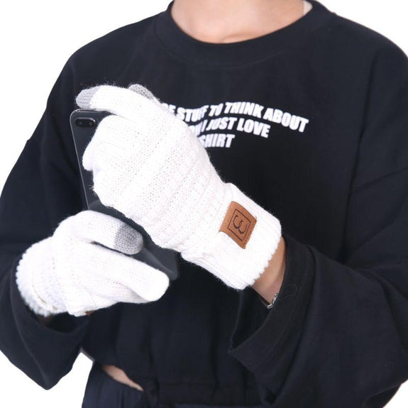 CC CHIC Women's Knit Winter Anti-Slip Touchscreen Gloves-White-Daily Steals