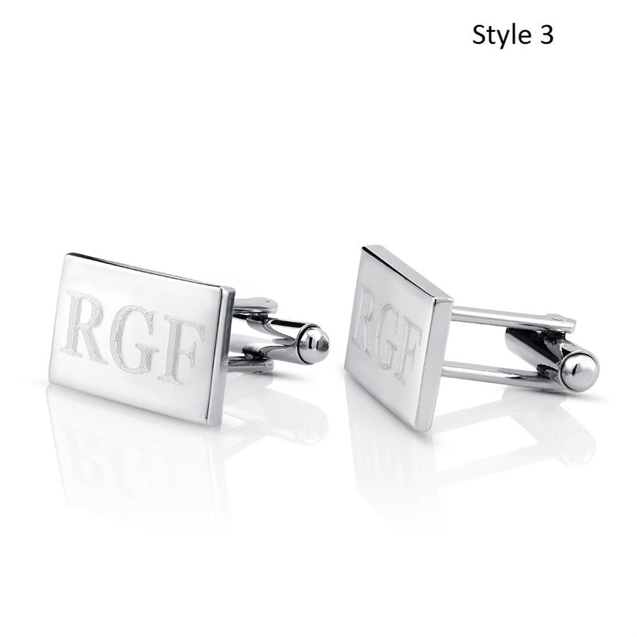 Stainless Steel Monogram Cufflinks with FREE Gift Box-Rectangle-Daily Steals