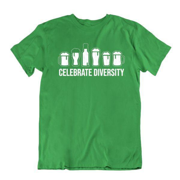 Daily Steals-Celebrate Diversity Beer Funny Drinking T-Shirt-Men's Apparel-Kelly Green-Small-