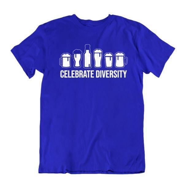 Daily Steals-Celebrate Diversity Beer Funny Drinking T-Shirt-Men's Apparel-Royal Blue-Small-