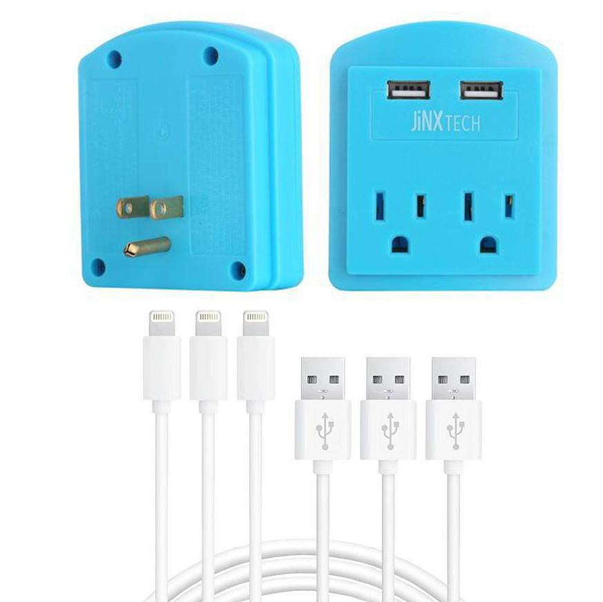 Certified 10ft Lightning Cables & Outlet Wall Tap Combo - 3 Pack-3-Pack Cable - Blue Outlet-Daily Steals