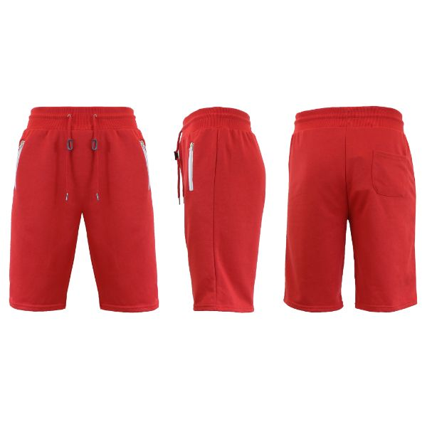 Men's Marled or Solid French Terry Shorts with Zipper Pockets-Red-Small-Daily Steals