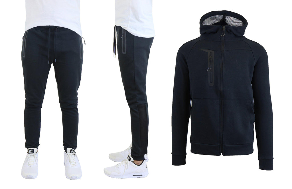 Men's Tech Fleece Hoodie and Jogger Set With Zipper Pockets and Mesh Trim-Black-S-Daily Steals