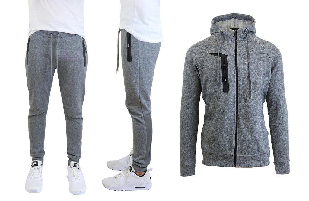 Men's Tech Fleece Hoodie and Jogger Set With Zipper Pockets and Mesh Trim