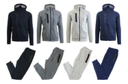 Men's Tech Fleece Hoodie and Jogger Set With Zipper Pockets and Mesh Trim-Daily Steals