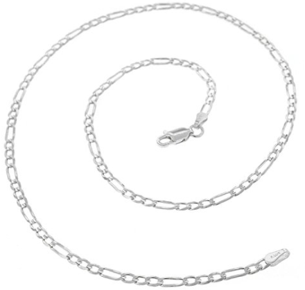 Italian Pure 925 Sterling Silver Figaro Link ITProLux Necklace Chain-Daily Steals